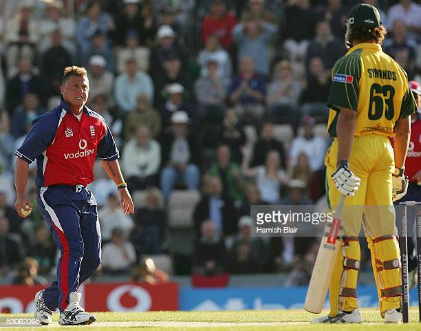Darren Gough of England scowls at Andrew Symonds of Australia after Symonds negotiated a hat trick ball during the Twenty20 International between...