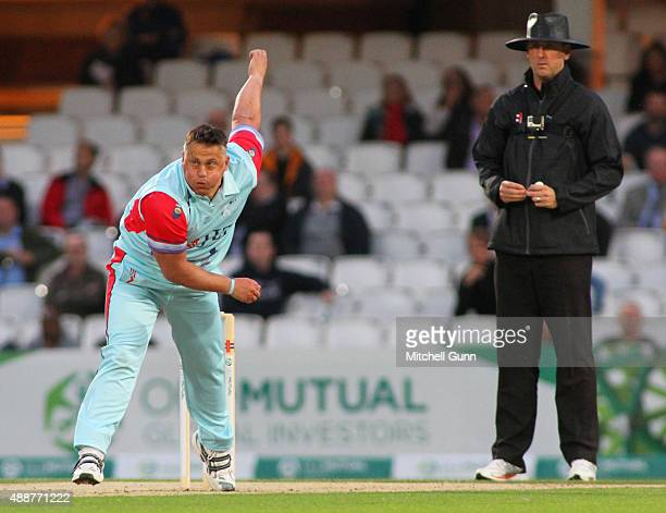 Darren Gough of Help for Heroes XI bowling during the Cricket for Heroes Twenty20 Challenge Match at the Kia Oval Cricket Ground on September 17 2015...