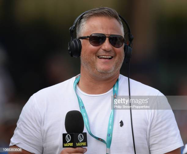 Darren Gough of Talksport looks on after England defeated Sri Lanka 30 in the series after they won the 3rd Cricket Test Match between Sri Lanka and...