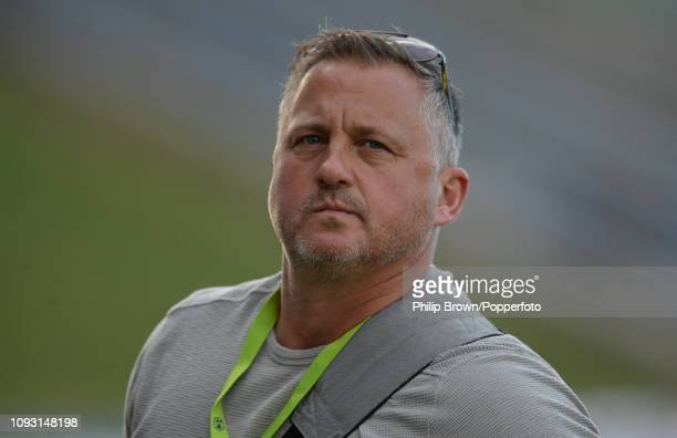 Darren Gough of Talksport looks on after the second Test match between the West Indies and England at the Sir Vivian Richards stadium on February 2...