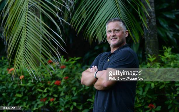 Darren Gough of Talksport poses for a photograph before the 3rd Cricket Test Match between Sri Lanka and England at the Cinnamon Grand hotel on...
