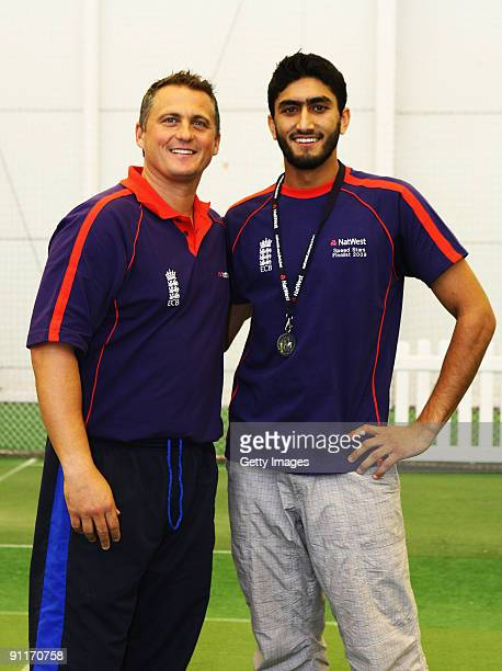 Darren Gough poses with Male Adult finalist Akbur Butt during the 2009 Natwest Speed Stars national final at Lord's on 26 September 2009 in London...