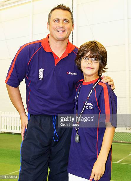 Darren Gough poses with Male Under 12 finalist Joe Shamash during the 2009 Natwest Speed Stars national final at Lord's on 26 September 2009 in...