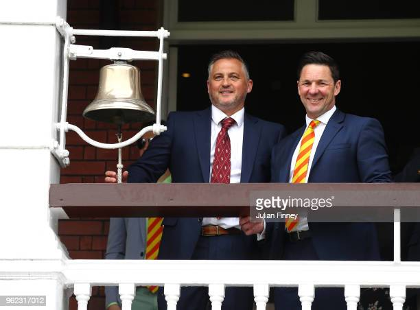 Darren Gough rings the bell prior to day two of the 1st Test match between England and Pakistan at Lord's Cricket Ground on May 25 2018 in London...