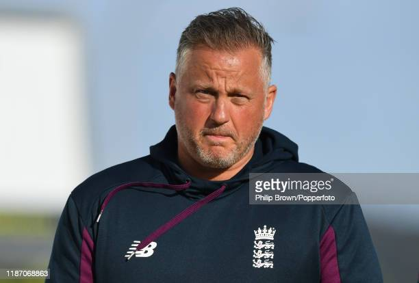 Darren Gough, the England bowling consultant looks on during the New Zealand X1 v England match at Cobham Oval on November 12, 2019 in Whangarei, New...