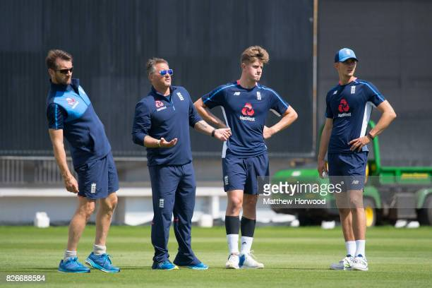 Darren Gough with Jack Blatherwick and Jack Plom during England U19 cricket training at the SSE Swalec Stadium on August 5 2017 in Cardiff Wales The...