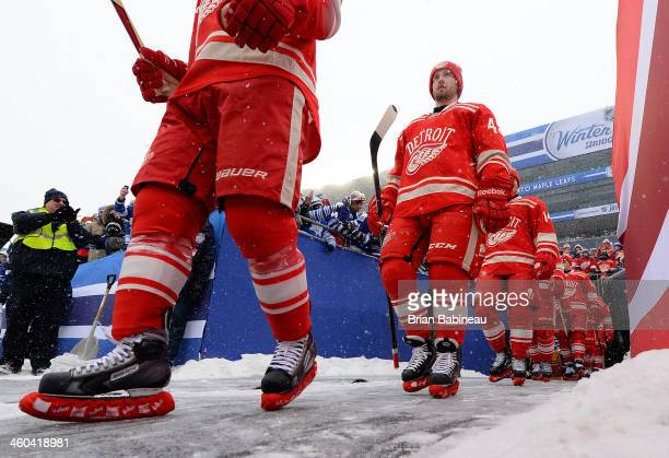 Darren Helm and his Detroit Red Wings teammates walk to the ice surface for warmup during the 2014 Bridgestone NHL Winter Classic on January 1 2014...