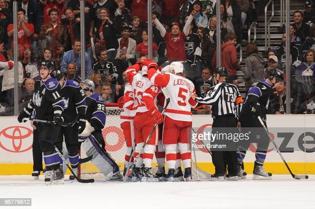 Darren Helm and Nicklas Lidstrom of the Detroit Red Wings celebrate a goal against the Los Angeles Kings on January 7 2010 at Staples Center in Los...