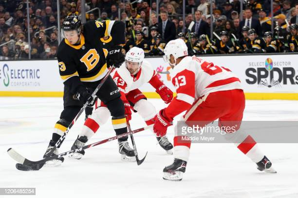 Darren Helm and Trevor Daley of the Detroit Red Wings defend Charlie McAvoy of the Boston Bruins during the first period at TD Garden on February 15...