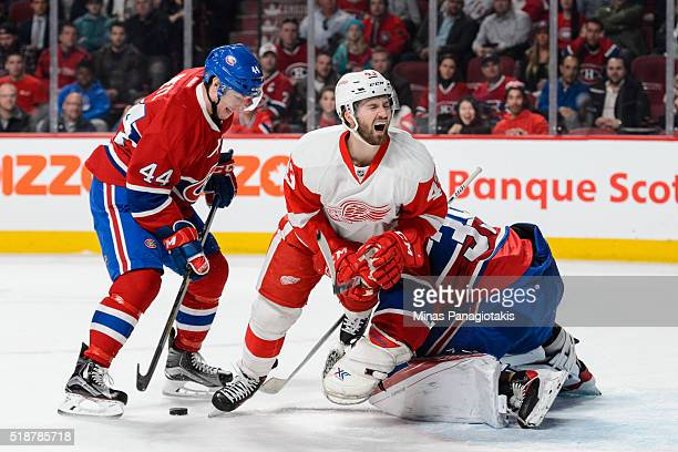 Darren Helm of the Detroit Red Wings crashes into goaltender Mike Condon the Montreal Canadiens as Darren Dietz of the Canadiens defends the puck...