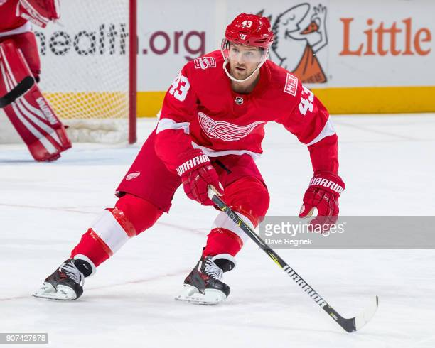 Darren Helm of the Detroit Red Wings follows the play against the Pittsburgh Penguins during an NHL game at Little Caesars Arena on December 31 2017...