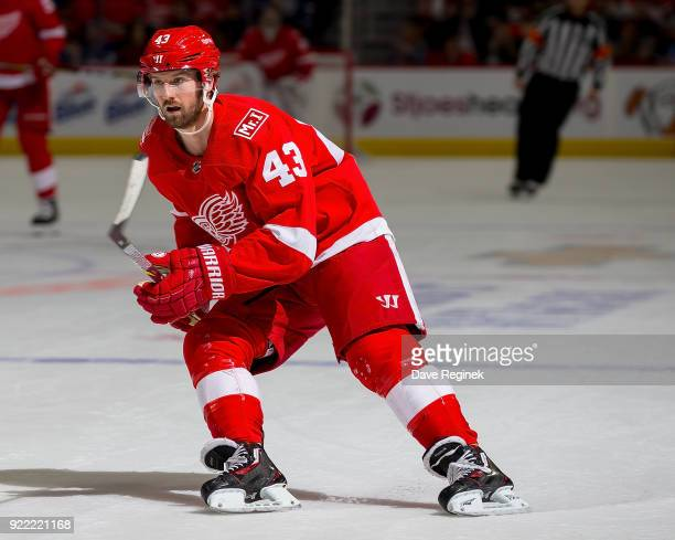 Darren Helm of the Detroit Red Wings follows the play against the Toronto Maple Leafs during an NHL game at Little Caesars Arena on February 18 2018...