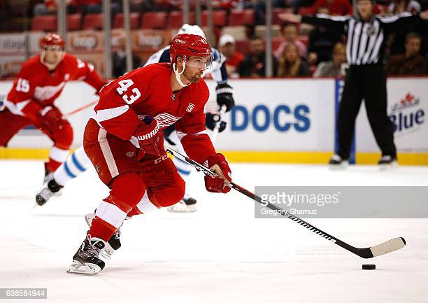 Darren Helm of the Detroit Red Wings heads up ice while playing the Winnipeg Jets at Joe Louis Arena on November 4 2016 in Detroit Michigan