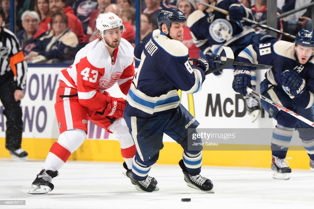 Darren Helm #43 of the Detroit Red Wings lifts the stick of Nathan Horton #8 of the Columbus Blue Jackets as he skates after a loose puck during the third period on March 25, 2014 at Nationwide Arena in Columbus, Ohio. Columbus defeated Detroit 4-2.
