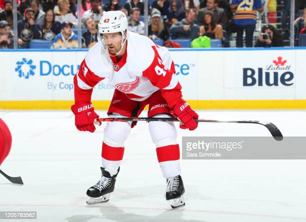 Darren Helm of the Detroit Red Wings prepares for a faceoff during an NHL game against the Buffalo Sabres on February 11 2020 at KeyBank Center in...
