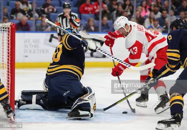 Darren Helm of the Detroit Red Wings shoots and scores a goal on Carter Hutton of the Buffalo Sabres during the first period at KeyBank Center on...