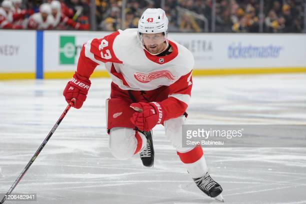 Darren Helm of the Detroit Red Wings skates against the Boston Bruins at the TD Garden on February 15 2020 in Boston Massachusetts