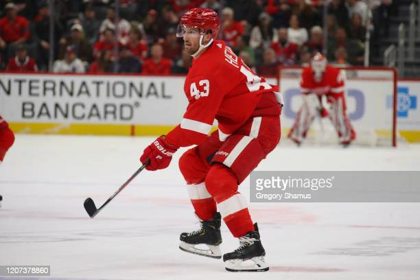 Darren Helm of the Detroit Red Wings skates against the Montreal Canadiens at Little Caesars Arena on February 18 2020 in Detroit Michigan