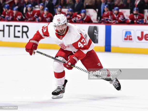Darren Helm of the Detroit Red Wings skates against the Montreal Canadiens during the NHL game at the Bell Centre on October 15 2018 in Montreal...