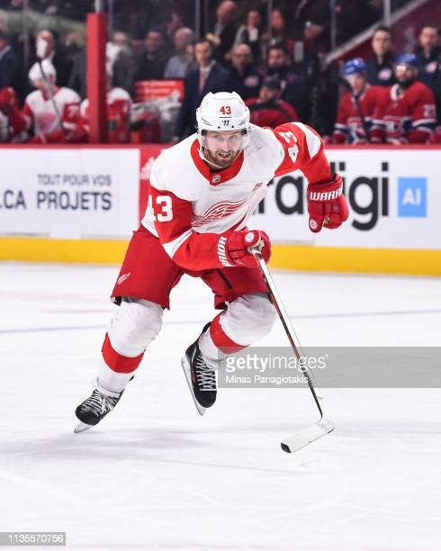 Darren Helm of the Detroit Red Wings skates against the Montreal Canadiens during the NHL game at the Bell Centre on March 12 2019 in Montreal Quebec...