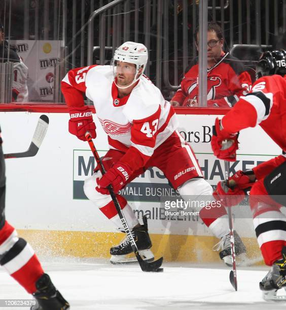 Darren Helm of the Detroit Red Wings skates against the New Jersey Devils at the Prudential Center on February 13 2020 in Newark New Jersey The...