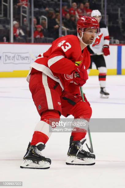 Darren Helm of the Detroit Red Wings skates against the New Jersey Devils at Little Caesars Arena on February 25 2020 in Detroit Michigan