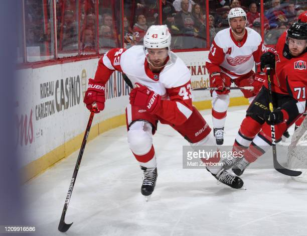 Darren Helm of the Detroit Red Wings skates against the Ottawa Senators at Canadian Tire Centre on February 29 2020 in Ottawa Ontario Canada