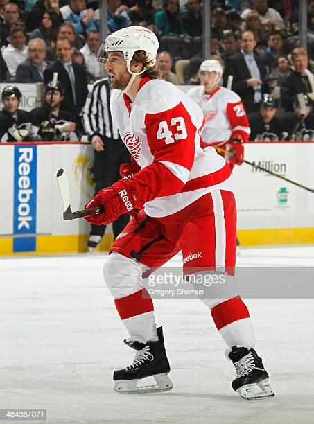 Darren Helm of the Detroit Red Wings skates against the Pittsburgh Penguins on April 9 2014 at Consol Energy Center in Pittsburgh Pennsylvania