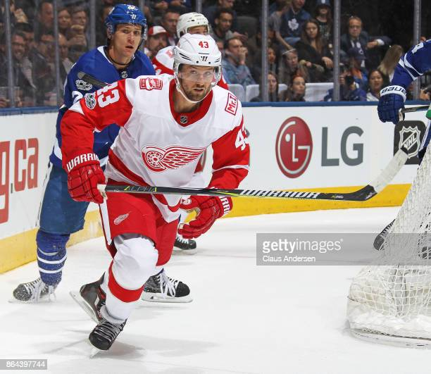 Darren Helm of the Detroit Red Wings skates against the Toronto Maple Leafs in an NHL game at the Air Canada Centre on October 18 2017 in Toronto...