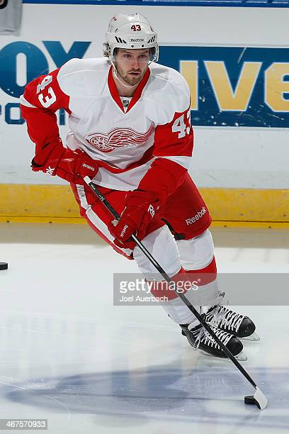 Darren Helm of the Detroit Red Wings skates prior to the game against the Florida Panthers at the BBT Center on February 6 2014 in Sunrise Florida...