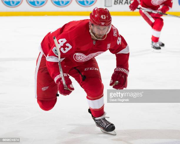 Darren Helm of the Detroit Red Wings skates up ice against the New Jersey Devils during the final home game ever played at Joe Louis Arena on April 9...