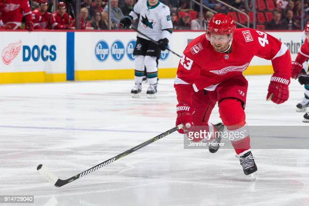 Darren Helm of the Detroit Red Wings skates up ice during an NHL game against the San Jose Sharks at Little Caesars Arena on January 31 2018 in...