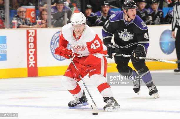 Darren Helm of the Detroit Red Wings skates with the puck against the Los Angeles Kings on January 7 2010 at Staples Center in Los Angeles California