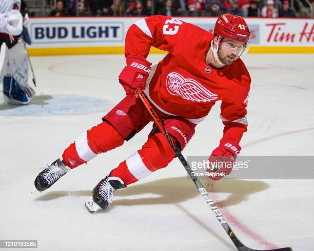 Darren Helm of the Detroit Red Wings turns up ice against the Colorado Avalanche during an NHL game at Little Caesars Arena on March 2 2020 in...