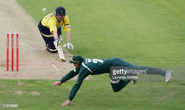 Darren Hussey of Nottinghamshire dives to attemt to run out Andrew Gale of Yorkshire during the Tewnty20 Cup Match between Yorkshire Phoenix and...