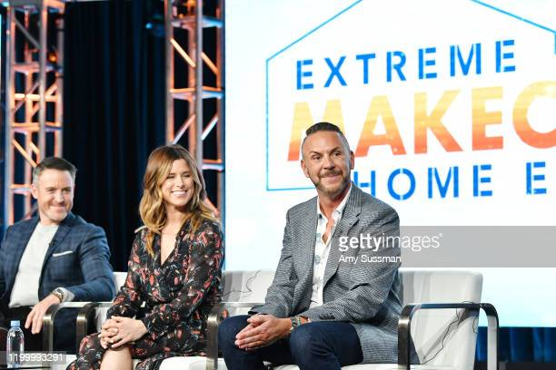 """Darren Keefe, Carrie Locklyn and Loren Ruch of """"Extreme Makeover: Home Edition"""" speak during the HGTV segment of the 2020 Winter TCA Press Tour at..."""
