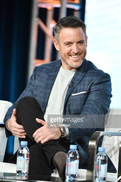 """Darren Keefe of """"Extreme Makeover: Home Edition"""" speaks during the HGTV segment of the 2020 Winter TCA Press Tour at The Langham Huntington, Pasadena..."""
