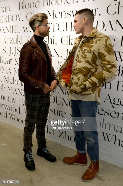 Darren Kennedy and Isaac Carew attend the LFWM Official Opening By James Massiah show during London Fashion Week Men's January 2018 at BFC Designer...