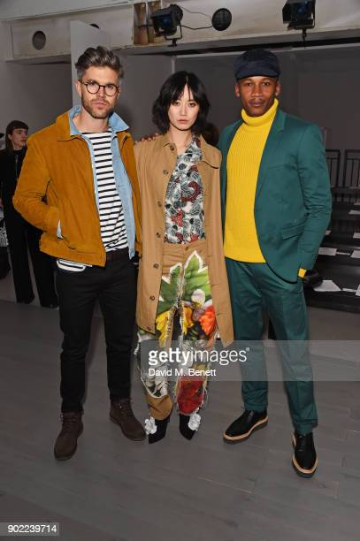 Darren Kennedy, Betty Bachz and Eric Underwood attend the Alex Mullins show during London Fashion Week Men's January 2018 at BFC Show Space on...