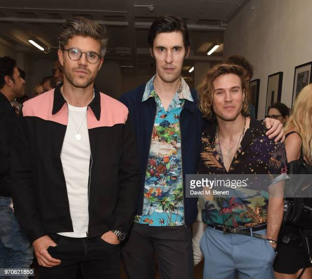 Darren Kennedy Clym Evernden and Dougie Poynter attend GarconJon 10 Years Of Street Style presented by Vogue Hommes at 13 Floral Street on June 9...