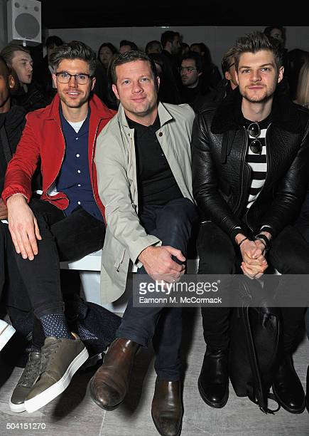 Darren Kennedy Dermot O'Leary and Jim Chapman attend the ETautz show during The London Collections Men AW16 at 108 The Strand on January 9 2016 in...