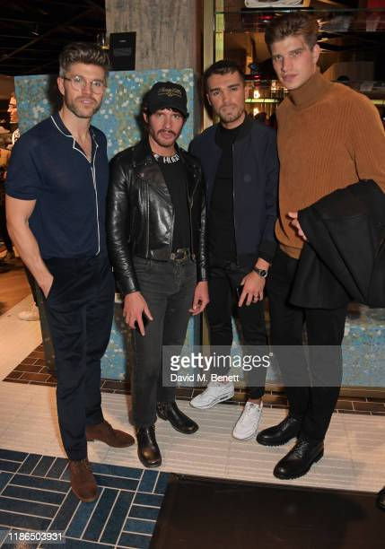 Darren Kennedy Editor of GQ Style Luke Day Josh Cuthbert and Toby HuntingtonWhiteley attend the Hugo X Liam Payne Bodywear Campaign party at Flannels...