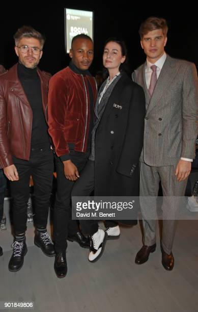Darren Kennedy Eric Underwood Erin O'Connor and Toby HuntingtonWhiteley attend the Oliver Spencer LFWM AW18 Catwalk Show at the BFC Show Space on...