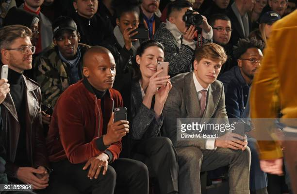 Darren Kennedy Eric Underwood Erin OÕConnor Toby HuntingtonWhiteley and Jesiah Sampson sit in the front row at the Oliver Spencer LFWM AW18 Catwalk...