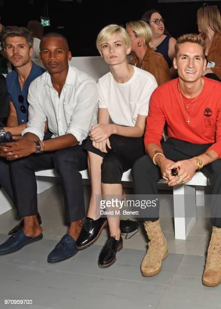 Darren Kennedy Eric Underwood Lara Mullen Oliver Proudlock attend the Alex Mullins show during London Fashion Week Men's June 2018 at the BFC Show...
