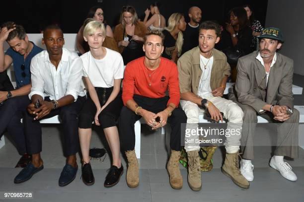 Darren Kennedy Eric Underwood Lara Mullen Oliver Proudlock Harvey NewtonHaydon and Richard Biedul attend the Alex Mullins show during London Fashion...