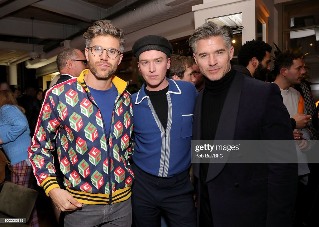 Darren Kennedy, Fletcher Cowan and Eric Rutherford attend the TOPMAN LFWM Party during London Fashion Week Men's January 2018 at Mortimer House on January 7, 2018 in London, England.