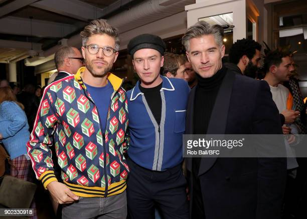 Darren Kennedy Fletcher Cowan and Eric Rutherford attend the TOPMAN LFWM Party during London Fashion Week Men's January 2018 at Mortimer House on...