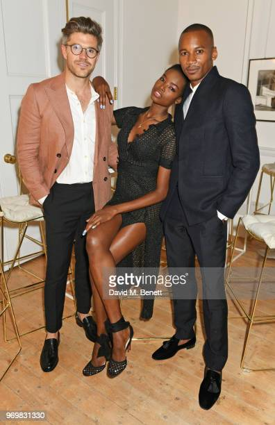 Darren Kennedy Maria Borges and Eric Underwood attend a VIP dinner celebrating the launch of London Fashion Week Men's June 2018 hosted by David...