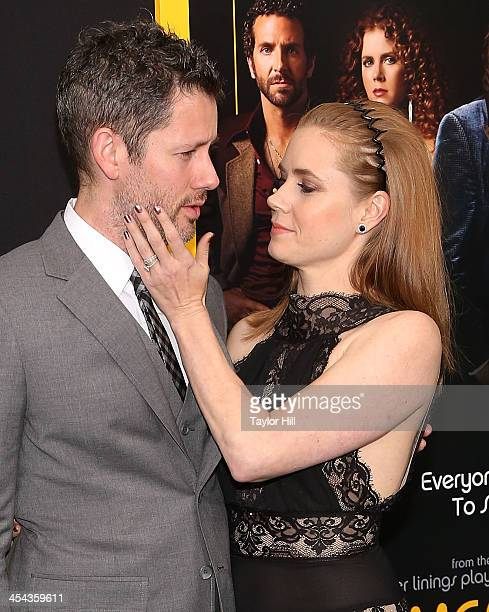 Darren Le Gallo and fiance Amy Adams attend the American Hustle screening at Ziegfeld Theater on December 8 2013 in New York City